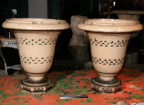 Blue Decorated Stoneware Urns