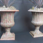 Pair of English Campana Form  Cast Iron Urns