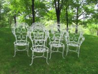 Set of Six French Wrought Iron Chairs