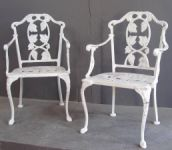 Pair of 1930's American Cast Iron Chairs