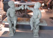 Pair of English Reconsituted Stone Putti