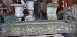 English Carved Stone Low Trough