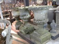 Set of Three Large English Reconsitituted Stone Urns