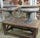 Elegant Pair of French 19th Century Cast Iron Urns