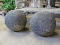 Large English Carved Stone Gate Pier Balls