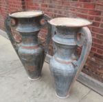 Pair of Tall Zinc Egyptian Revival Urns