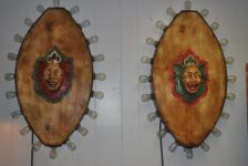 Pair of American Lighted Carnival Medallions