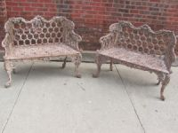 Matched Pair of 19th Century Cast Iron Benches