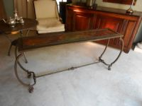 Wrought Iron and Onyx Console