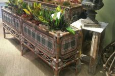 Pair of Large French Wicker Planters