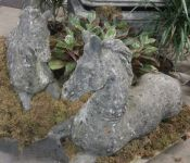 Pair of English Reconstituted Stone Horses