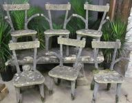Set of Six French Faux Bois Chairs