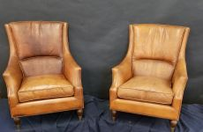French Leather Chairs