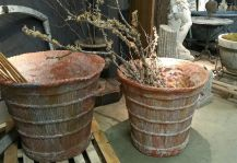Large Pair of French Terra Cotta Planters