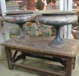 Elegant Pair of French 19th Century Cast Iron Urns