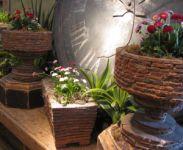Charming Three Piece Miniature Brick Planter Set