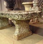 Unusual Stone Pebble Covered  Garden Seat